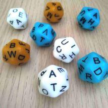 Húszoldalú kocka az ábécé betűivel – nyelvtanítós, fejlesztő, gyógypedagógiai, logopédiai játékokhoz - fehér