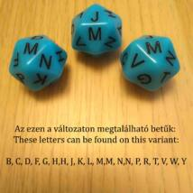 Húszoldalú kocka az ábécé betűivel – nyelvtanítós, fejlesztő, gyógypedagógiai, logopédiai játékokhoz - kék 1