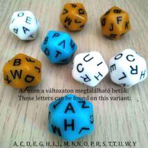 Húszoldalú kocka az ábécé betűivel – nyelvtanítós, fejlesztő, gyógypedagógiai, logopédiai játékokhoz - kék 2