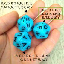 Húszoldalú kocka az ábécé betűivel – nyelvtanítós, fejlesztő, gyógypedagógiai, logopédiai játékokhoz - kék 3