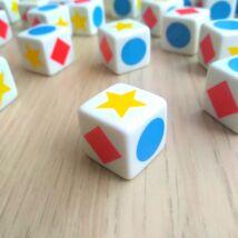 Dobókocka síkidomokkal, alakzatokokkal – piros négyzet, kék kör, sárga ötágú csillag, 18 mm