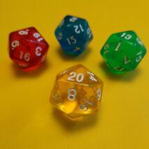 """Húszoldalú ikozaéder """"kocka"""" lapszámozva 1-20-ig, áttetsző sárga - egyéb színekben is! (1 db)"""
