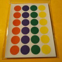 Matricakészlet - pöttyök több méretben - 16 mm, négyféle szín x 6 sor = 24 db/ív