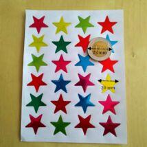 Matricakészlet - csillagok, 20 mm, vegyes színek, 24 db/ív (több méretben!)