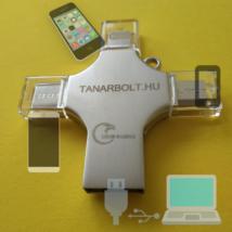 Pendrive négy(!)féle csatlakozóval - USB, micro USB, USB type-C, iPhone lightning csatlakozókkal, 64GB-os