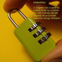 Számzáras lakat átállítható kóddal feladványokhoz, szabadulószobába, kincskereséshez, háromszámjegyű, zöld