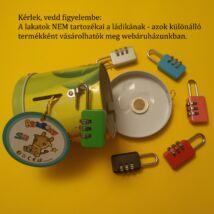 Lakattal zárható fémládika, persely - kincskeresős, kódfejtős rejtvényekhez, több színben
