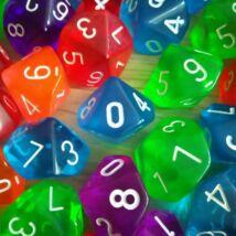 Tízoldalú kocka 1–10-ig vagy 0–9-ig számozva – szorzótábla gyakorlásához, ismerkedős és csapatépítő játékokhoz, feladatötletekkel! – 0–9-ig, áttetsző kék