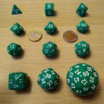 Kockakészlet lapszámozva, több színben - 12 db-os - hatalmas, pingponglabda nagyságú 60 oldalú kockával - zöld