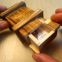 Fa kincsesláda – Trükkös módon nyitható – Magic trick box – hard to open