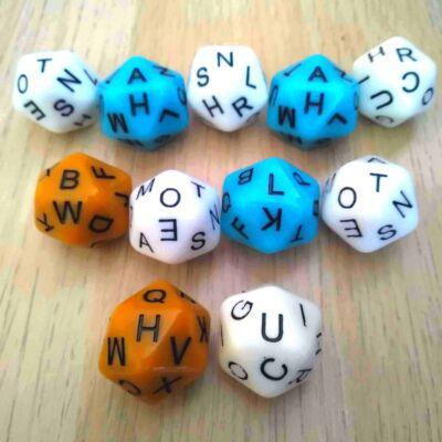 Az egyes betűk előfordulásai a karamell színváltozaton -  Húszoldalú kocka az ábécé betűivel - kék3