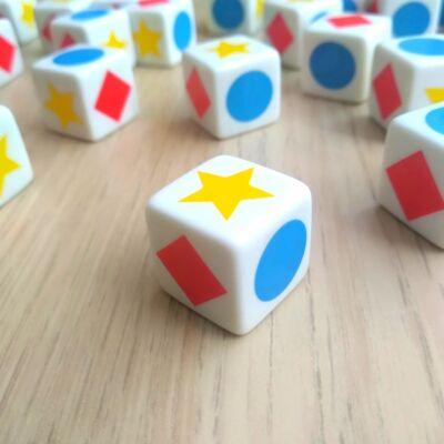 Dobókocka alakzatokkal – Kék kör - piros négyzet – Sárga ötágú csillag – polygon dice