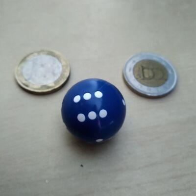 """Dobógömb – """"kerek dobókocka"""" 1-6-ig pöttyözve, több színben – kék (1 db)"""