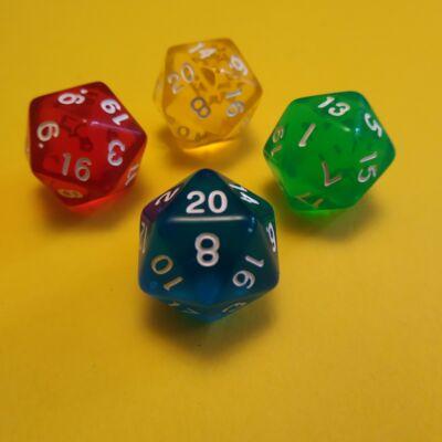 """Húszoldalú ikozaéder """"kocka"""" lapszámozva 1-20-ig, áttetsző kék - egyéb színekben is! (1 db)"""