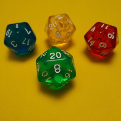 """Húszoldalú ikozaéder """"kocka"""" lapszámozva 1-20-ig, áttetsző zöld - egyéb színekben is! (1 db)"""
