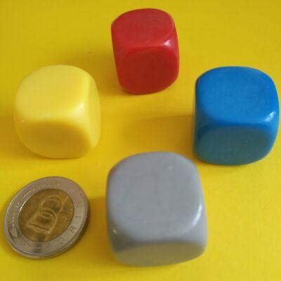 Üres dobókocka több színben - díszíthető, felmatricázható - 22 mm-es, műanyag, szürke