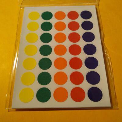 Matricakészlet - pöttyök több méretben - 13 mm, ötféle szín x 7 sor = 35 db/ív