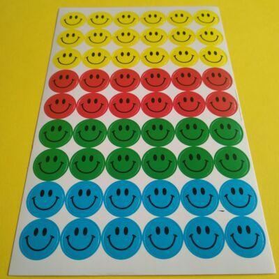 Matricakészlet - mosolygós arcok / smiley-k, 15 mm, vegyes színek, 54 db/ív
