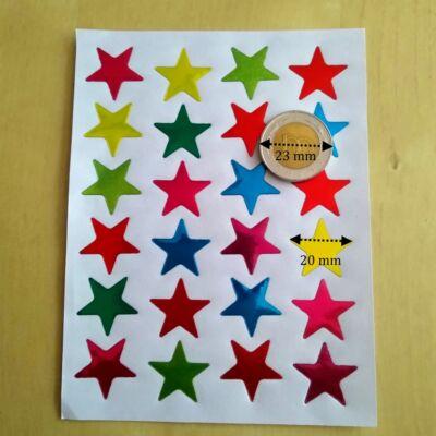 matrica csillagok vegyes színű 20 mm