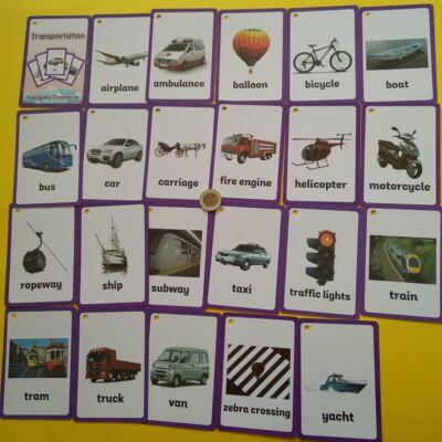 Angol tematikus szókártycsomag — transportation, 22+1 db-os
