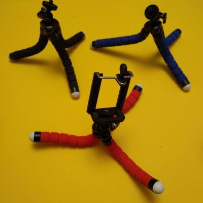 """Telefontartó tripod miniállvány """"polip"""" hajlítható lábakkal, tartókerettel - fekete (több színben, bleutooth elsütő is kapható hozzá)"""