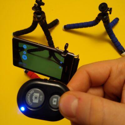 Vezérlő, elsütő a telefonkamera távoli aktiválásához, felvételkészítéshez telefonnal, bluetooth-os