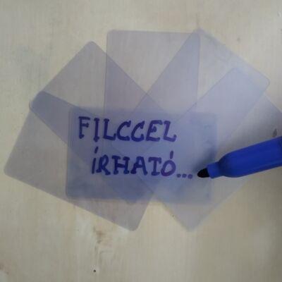 Üres, letörölhető, áttetsző plasztik műanyag kártya
