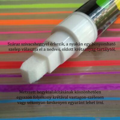 Folyékony kréta - letörölhető, táblára, üvegre, fára, fóliára, műanyagra is ír - fehér
