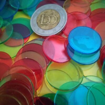 Zsetonkészlet (számozatlan) 18 mm - játékpénznek, számoláshoz, 40 db (10 db / szín)