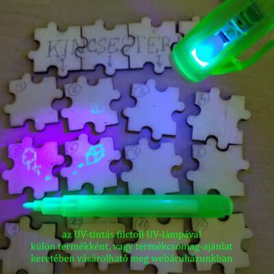 Üres puzzle – kincsestérkép készítése szabadulószobához – láthatatlan írás UV-filccel