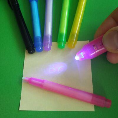 """UV-tintás filctoll lámpával - """"láthatatlan"""" titkosíráshoz, feladatötlet-adó videóval! - pink"""