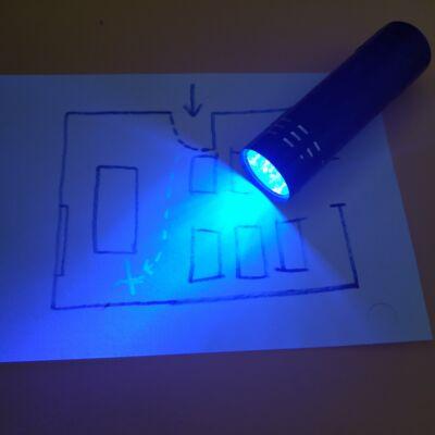 UV-fényű zseblámpa kincskeresős játékokhoz, szabadulószobához (elemekkel!)