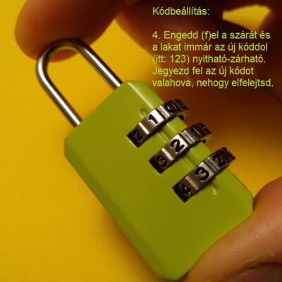 A nyitókód átállítása háromszámjegyű számzáras lakatokon – Setting up a new open code at numeric padlock