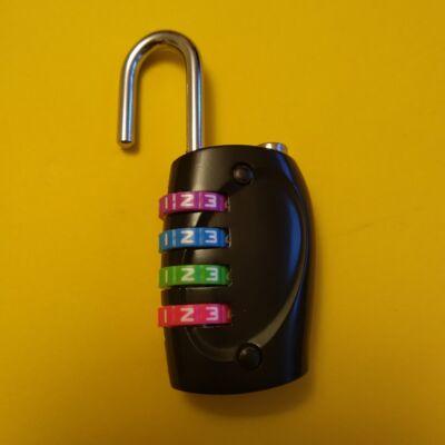 Számzáras lakat színes tárcsákkal, átállítható kóddal feladványokhoz, szabadulószobába, kincskereséshez - négyszámjegyű