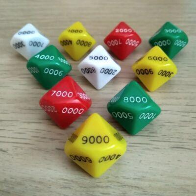Tízoldalú kocka ezresekkel számozva - számoláshoz - műveletekhez - matematika- és idegen nyelvi órán - sárga - színválaszték
