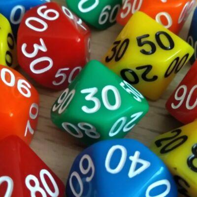 Tízoldalú kocka tízesekkel számozva - számoláshoz - műveletekhez - matematika- és idegen nyelvi órán - zöld - színválaszték