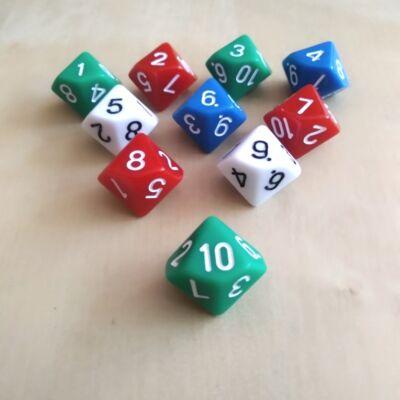 Tízoldalú kocka játékos feladatokhoz, csapatépítéshez 10-ig számozva, zöld