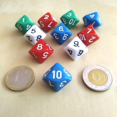 Tízoldalú kocka játékos feladatokhoz, csapatépítéshez 10-ig számozva, kék