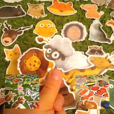 Nagyméretű színes állatos matricák 50 db – Animals sticker set 50 pcs – biológia; környezetismeret; történetmesélés; idegen nyelv tanítása