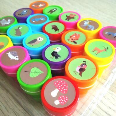 Pecsétnyomda - erdei állatok és növények – 20 db-os készlet – Self ink stamp set 20 pcs - woodland creatures