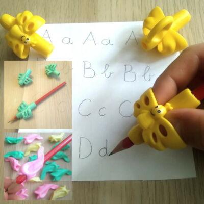 Kétujjas ceruzafogó - Írás tanulása és helyes kéztartás - Pencil grip holder – sárga (pillangódísszel)