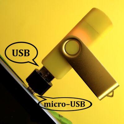 Pendrive telefonba – Átalakító USB male to micro–USB female adapter black – Plug pendrive into smart device – fekete