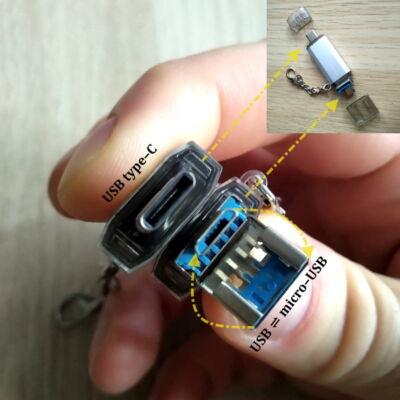 Pendrive – csatlakozik telefonhoz is – type-C és micro USB vég – ezüst