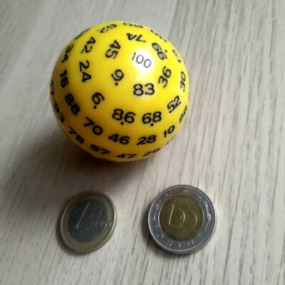 Sárga százoldalú dobókoca – Sorsoláshoz és tanórai játékos feladatokhoz – yellow 100-faced dice for teaching