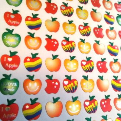 Fémesen csillogó almák vegyes színben - matricaív, 10 mm, 80 db / ív