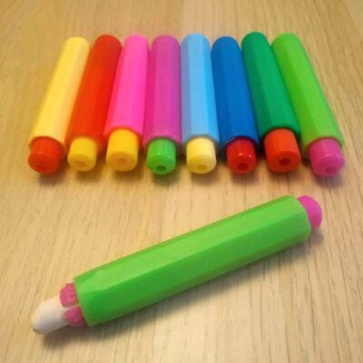 Krétatartó - krétafogó pedagógusoknak óvodába vagy rajz tanításához - Chalk holder - woodcraft marker - zöld-ciklámen