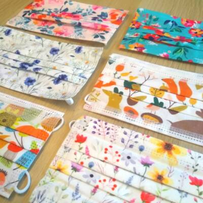 Virágmintás és állatos eldobható orvosi szájmaszk – Vidám színes háromrétegű maszkok orrcsíptetővel - Flower pattern colorful masks