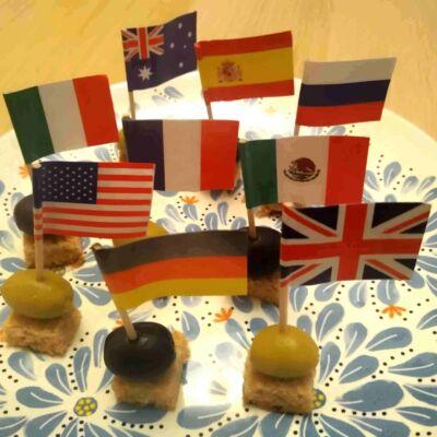 Koktélzászlók - sokféle ország - tanításhoz - idegen nyelv - földrajz - kultúra - gasztronómia - dekoráció - meccs - szurkolás